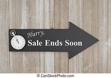 fretta, vendita, fini, presto, segno
