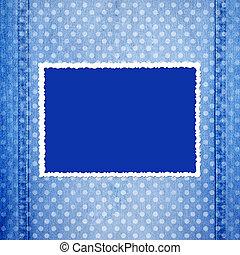 fretted, bleu, résumé, fond, cadre, jean