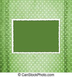 fretted, résumé, fond, vert, cadre, jean