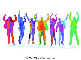 Freude Erfolg.eps - Cheerful group of people celebrating