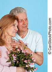freude, kaukasier, ältere leute, zusammen