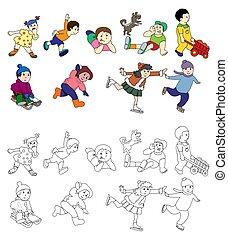 freude, kinder, gefärbt, weißes, springende , nein, freigestellt, glücklich, gradients, beide, lachender, schwarz