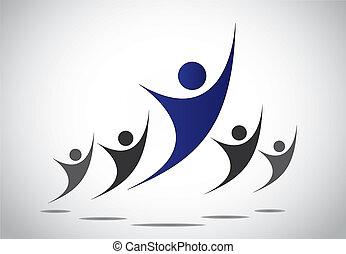 freude, kopf, begriff, kunst, illustration., familie, erreicht, abstrakt, &, -, erfolg, sieg, oder, springende , tanzen, führung, mannschaft- arbeit, führer, glück, leistung