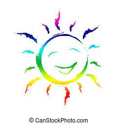 freude, sonnenschein, hintergruende, schablone, lächeln,...