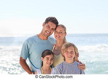 freudig, familie, strand