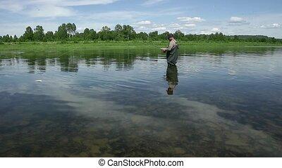 freudig, fischer, gleichfalls, fischerei, in, gelassen,...