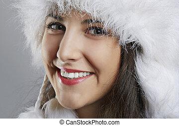 freudig, junge frau, in, winter- abnutzung
