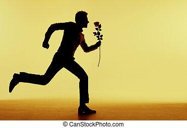 freundin, rennender , seine, mann, hübsch