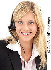 Freundlich am Set - Junge Frau lacht freundlich am Headset