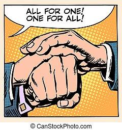 freundschaft, solidarität, mann, hand