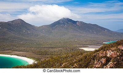 freycinet, 澳大利亞, 提防, 國家, 葡萄酒杯海灣, 公園, tasmania