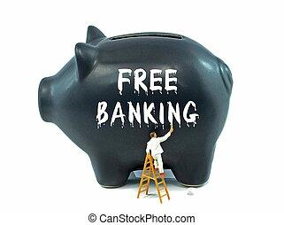 fri, bankvirksomhed, på, piggy bank