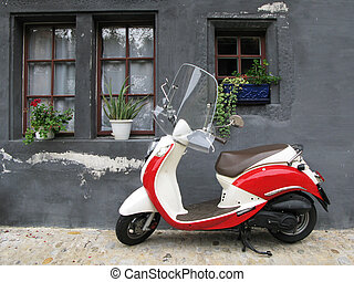 fribourg, 老, house., 对, trendy, 机动脚踏的两用车, 瑞士