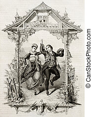 Fribourg feast - Old representation of popular marriage...