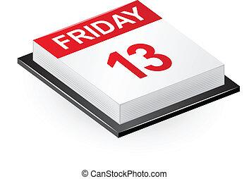"""Friday 13 calendar - Vector illustration of calendar """"Friday..."""