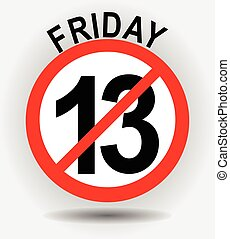 Friday 13th circle emblem with unfortunate number thirteen on gray gradient background with shadow