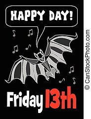 Friday 13th with bat drawing. 13 Friday unlucky day. Cute...