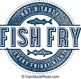 Friday Fish Fry - Vintage style stamp for Friday Fish Fry.