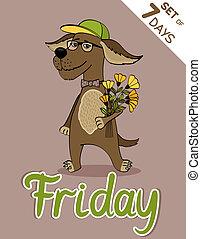 Friday, weekdays hipster vector illustration calendar set