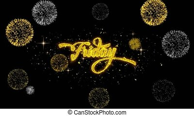 Friday Golden Text Blinking Particles with Golden Fireworks...