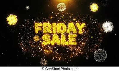 Friday Sale Text on Firework Display Explosion Particles....