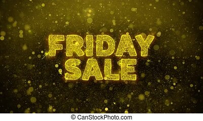 Friday Sale Text on Golden Glitter Shine Particles...
