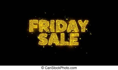 Friday Sale Text Sparks Particles on Black Background. -...
