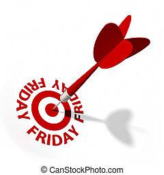 Friday Target - Target and dart with circular text. Part of ...