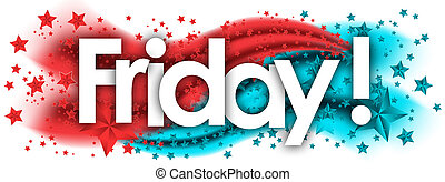 Friday word in stars colored background