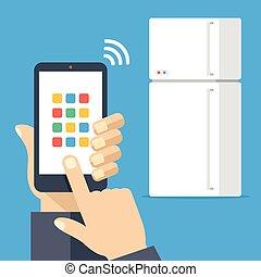 Fridge controlled via smartphone with wifi. White...