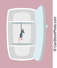 fridge., dessin animé, vide, style.