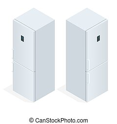 Fridge door with handle. Flat 3d vector isometric illustration
