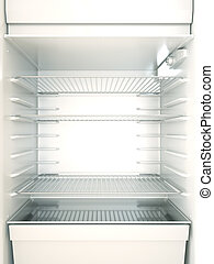 Fridge - Empty fridge interior. 3D render.