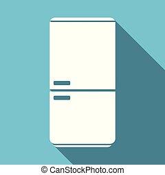 fridge flat design blue vector icon