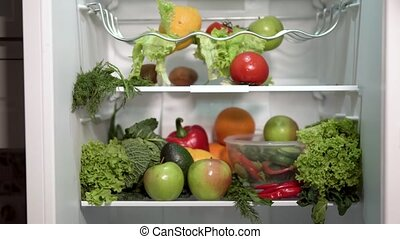 Fridge Full of Vegetables and Fruit