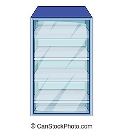 Fridge icon, cartoon style
