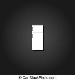 Fridge icon flat.