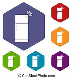 Fridge icons set hexagon