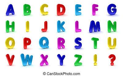 Fridge Magnet Alphabet - Alphabet in capital letters in the...