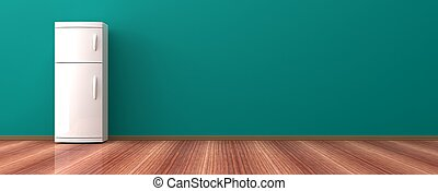 Fridge on a wooden floor. 3d illustration