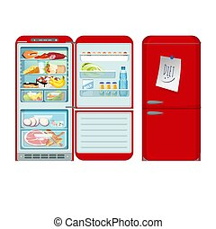 Fridge opened and closed. Red refrigerator with food in retro style. Vector