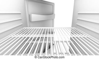 Fridge - Opening and closing door on empty fridge, view from...