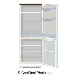 Fridge or refrigerator - Vector illustration grey opened...