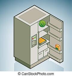 Fridge (part of the Kitchen Utensils Isometric 3D Icons Set)