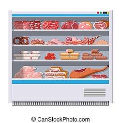 fridge., prodotti, carne, supermercato