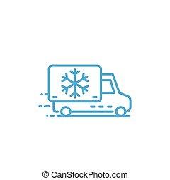 Fridge truck line icon on white, eps 10 file, easy to edit