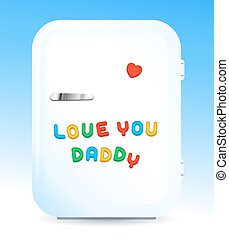 Fridge with letter magnets sign love you daddy