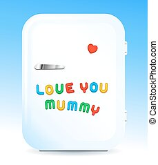 Fridge with letter magnets sign love you mummy
