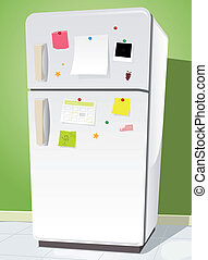 Fridge With Notes - Illustration of a cartoon white fridge...