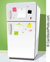 Fridge With Notes - Illustration of a cartoon white fridge...
